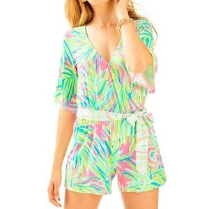 Lilly Pulitzer Madilyn Romper Tiki Pink Royal Lime